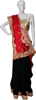 Serwans Plain Fashion Synthetic Crepe Sari