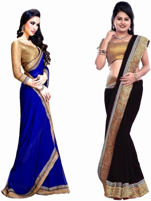 Bhuwal Fashion Self Design Fashion Chiffon Saree(Pack of 2, Blue, Black)
