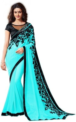 Mert India Plain Bollywood Georgette Sari