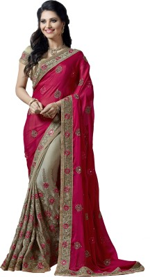 M.S.Retail Embroidered Bollywood Chiffon Saree(Pink) at flipkart