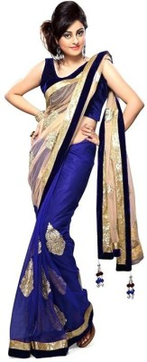 Uma Traders Embriodered Bollywood Pure Chiffon, Georgette Sari
