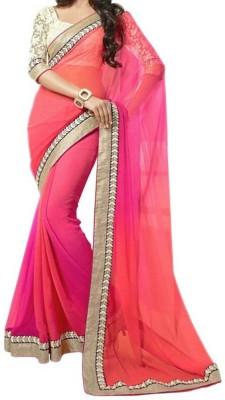 TryDeals Plain Bollywood Georgette Sari