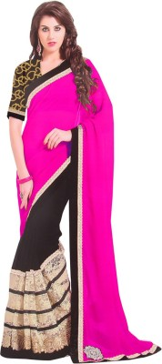 ZofeyFashion Plain, Polka Print Bollywood Georgette, Net Sari