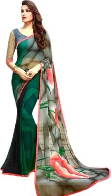 Ganghs Digital Prints, Floral Print Fashion Georgette Sari