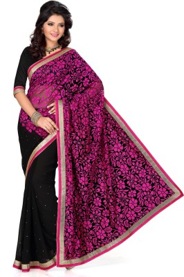 Deepika Couture Self Design Bollywood Georgette, Brasso Sari