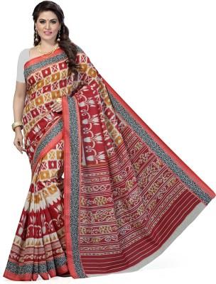 Rani Saahiba Printed Gadwal Art Silk Saree(Beige, Maroon) at flipkart