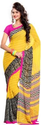 EthnicQueen Floral Print Chanderi Handloom Georgette Sari