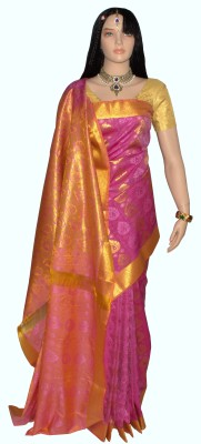 Lakshmi Lifestyle Self Design Kanjivaram Handloom Silk Saree(Pink) at flipkart