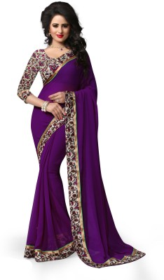Indianbeauty Self Design, Solid, Printed Fashion Georgette Sari