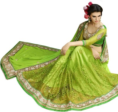 Viva N Diva Embroidered Fashion Net, Georgette Saree(Green) at flipkart