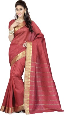 Rani Saahiba Self Design Banarasi Art Silk, Jacquard Sari(Red)
