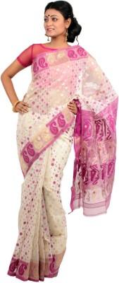 Rudrakshhh Dhakai Embriodered Jamdani Handloom Silk Cotton Blend, Cotton Sari