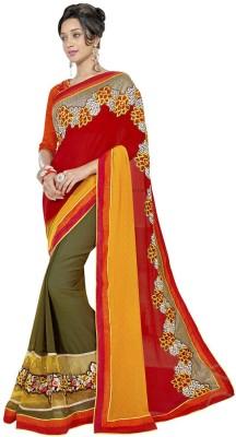 Chandramoulifashion Embriodered Fashion Chiffon Sari