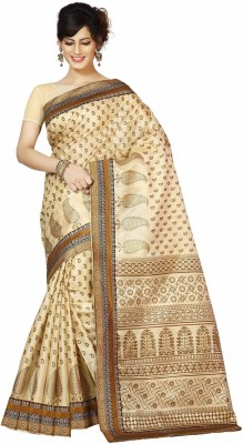 Rani Saahiba Applique Bhagalpuri Art Silk Sari(Gold)