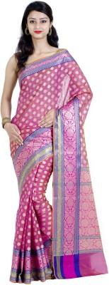 Chandrakala Paisley Banarasi Silk Cotton Blend Saree(Pink) at flipkart
