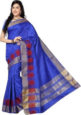 Rani Saahiba Self Design Kanjivaram Jacquard, Art Silk Sari(Blue)