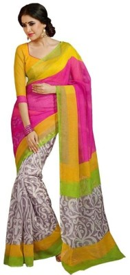 Myfab Printed Bhagalpuri Synthetic Fabric Sari