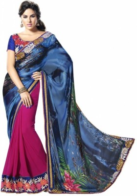 MAHOTSAV Self Design Fashion Satin, Chiffon Saree(Blue, Pink) at flipkart