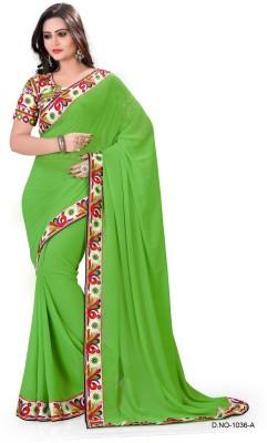 BollyLounge Solid Fashion Georgette Sari