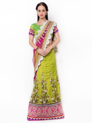 Aagaman Fashion Self Design Fashion Net Saree(Green) at flipkart