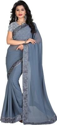 STARLIGHT CLUB Embroidered Fashion Georgette Sari(Grey)