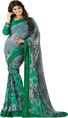 Matindra Enterprise Printed Bollywood Pure Chiffon Sari