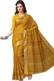 Suhanee Printed Gadwal Cotton Saree (Yel...