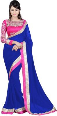 Punam Fashion Plain Fashion Chiffon Sari