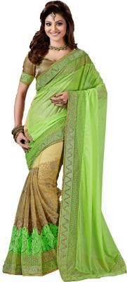 M.S.Retail Embroidered Bollywood Linen, Net Saree(Green, Beige) at flipkart