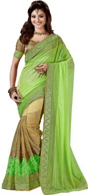 M.S.Retail Embroidered Bollywood Linen, Net Saree(Green, Beige) at flipkart