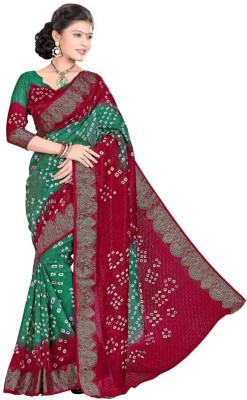 Wedding Villa Self Design Bandhej Handloom Art Silk Sari