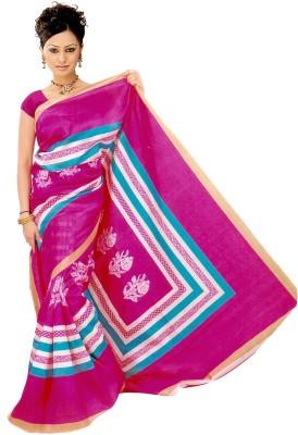 Raj Creative Striped, Floral Print Bhagalpuri Handloom Silk Sari