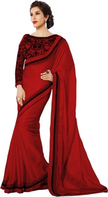 Glory Sarees Self Design Bollywood Satin Saree(Red) at flipkart