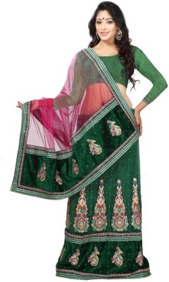 Triveni Self Design Fashion Net Saree(Green) at flipkart