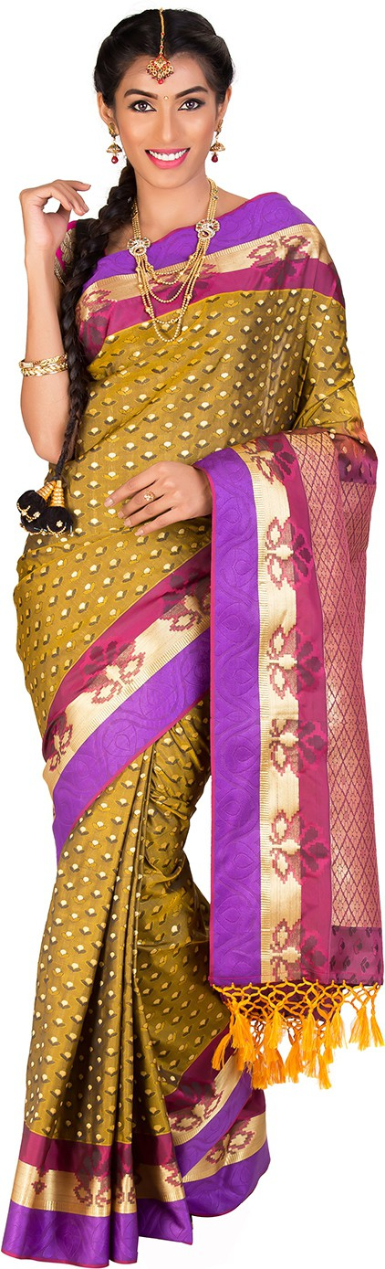 Thara Sarees Self Design Kanjivaram Art Silk Saree(Light Green)