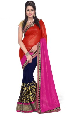 TodayNFashion Embriodered Fashion Georgette Sari