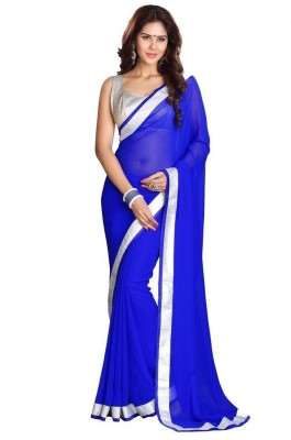 Poonam Saree Plain Fashion Chiffon Sari