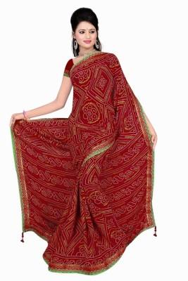 Monu Silk Mills Printed Leheria Crepe Sari