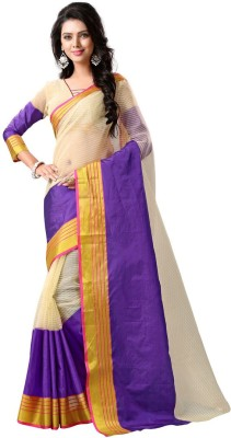 BAPS Embellished Bollywood Net, Cotton Saree(Beige, Purple) at flipkart