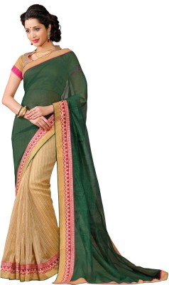 Vonage Solid, Striped Bollywood Silk Sari