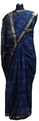 malvika exclusive Printed Maheshwari Handloom Silk Cotton Blend Sari
