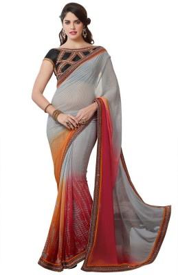 Zenny Creation Solid Fashion Georgette Sari