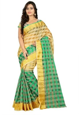 PerfectBlue Checkered Bhagalpuri Cotton Sari