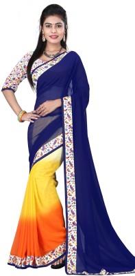 Karan Fashion Plain Daily Wear Georgette Sari