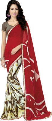 shart Printed Fashion Crepe Sari