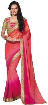 The Fashion Hub Plain Bollywood Georgette Sari