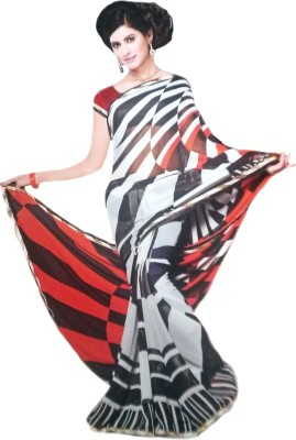 RoopSangamz Printed, Striped Bollywood Georgette Sari