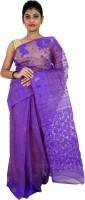 Rudrakshhh Embroidered Jamdani Handloom Cotton Sari(Purple)