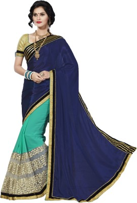 M.S.Retail Embroidered Bollywood Silk, Net, Chiffon Saree(Dark Blue) at flipkart