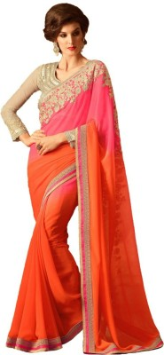 Prabha Creation Embriodered Fashion Georgette Sari